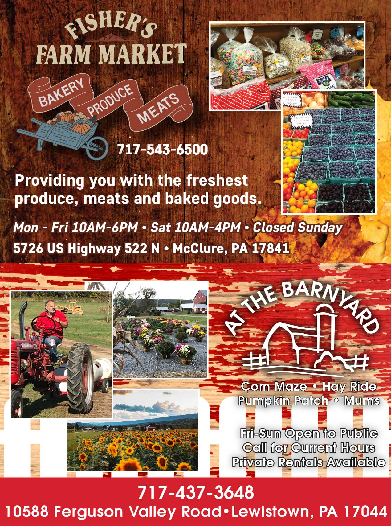"<center>Fisher's Farm Market | <b><a href=""https://www.facebook.com/Fishers-Farm-Market-468895676470347/"" target=""_blank"" rel=""noopener noreferrer"">CLICK HERE to view the website</a></b><center>At the Barnyard 