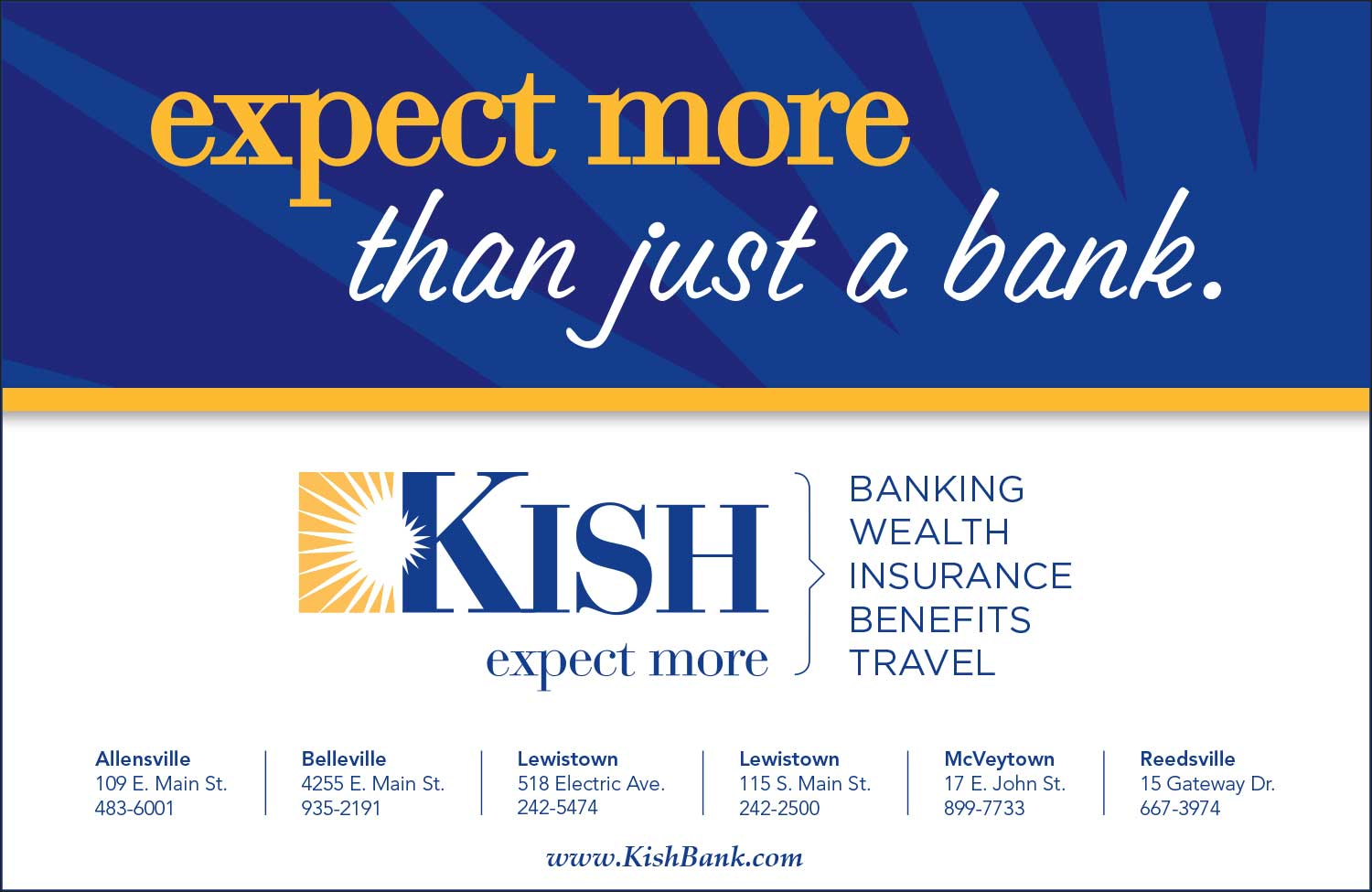 "<center>Kish Bank | <b><a href=""https://www.kishbank.com/home"" target=""_blank"" rel=""noopener noreferrer"">CLICK HERE to view the website</a></b></center>"