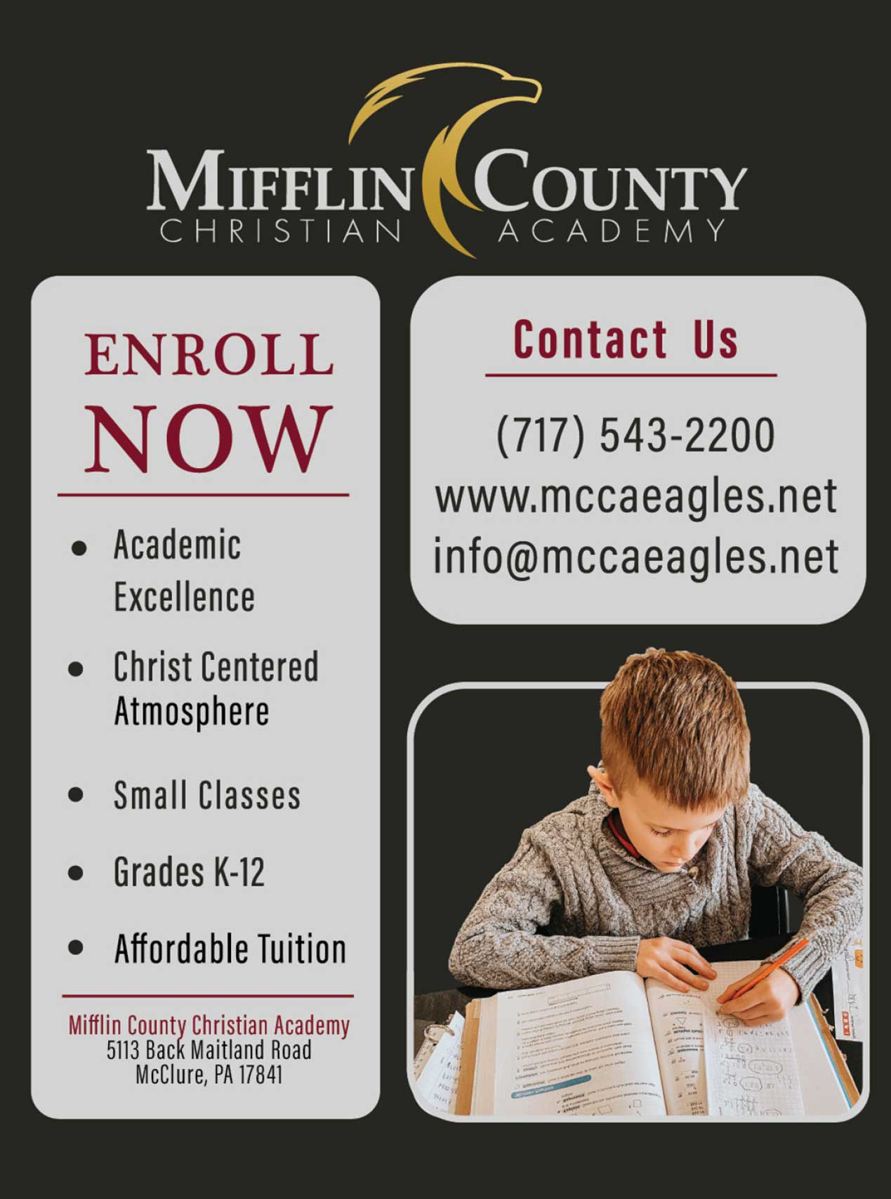"<center>Mifflin County Christian Academy | <b><a href=""http://mccaeagles.net"" target=""_blank"" rel=""noopener noreferrer"">CLICK HERE to view the website</a></b></center>"