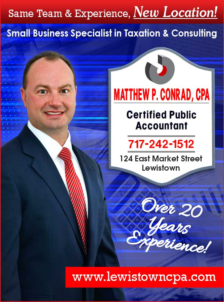 "<center>Matthew P. Conrad, CPA | <b><a href=""https://www.lewistowncpa.com"" target=""_blank"" rel=""noopener noreferrer"">CLICK HERE to view the website</a></b></center>"
